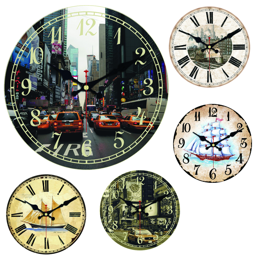 Sailing <font><b>Boat</b></font> Large Decorative Round Wall <font><b>Clock</b></font> Living Room Wall Decor Train Saat Fashion Silent Vintage Watch Wall New Year Gift image