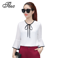 TLZC Women Fashion White Ruffles Blouses Wine Red Size S 2XL New Design Elegant Lady Shirts