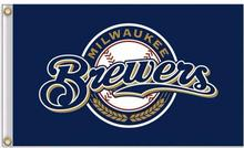 Milwaukee Brewers MLB Flag 3X5FT Flag Hot Selling Products 90×150 cm Outdoor Sports Flag Brass Metal Holes Custom Flag