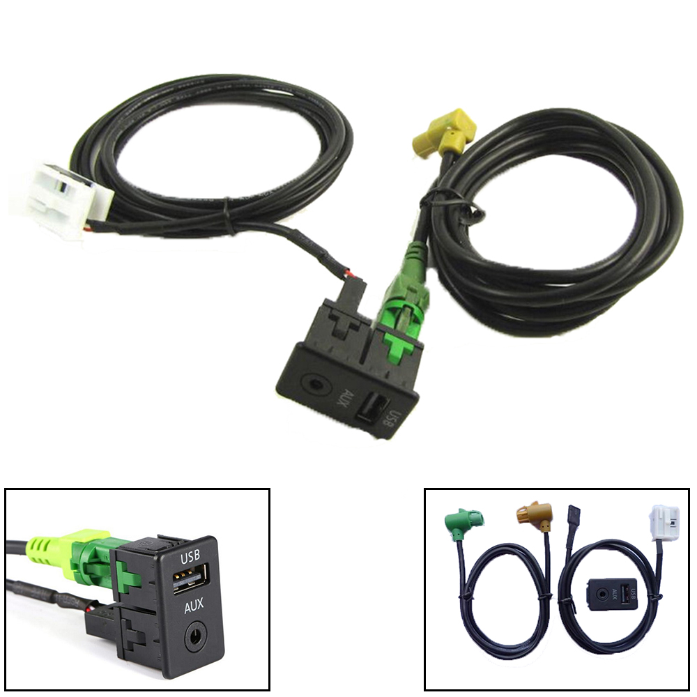 for VW/<font><b>Passat</b></font> <font><b>B6</b></font> B7 CC for Touran/POLO/Facelift RCD510 Car Style Audio Vedio <font><b>USB</b></font> AUX Cable Switches Plug image