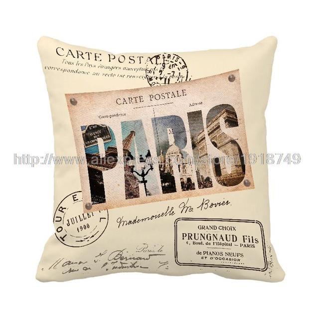 Письмо Париж отпечатано желтый чехлы главная декоративные потертый шик vintage бросить наволочки