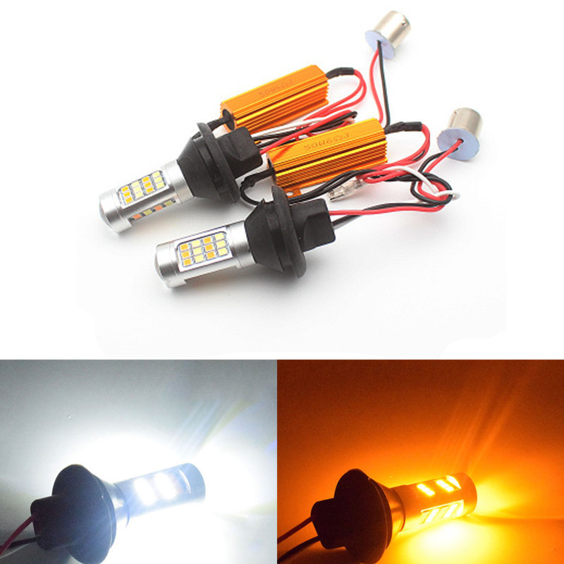 1156 P21W BA15S 2835 42 SMD CANBUS Amber/White 42 LEDs Switchback LED Bulbs S25 DRL Turn Signal Light 12V Dual Colors ERROR FREE бра leds c4 book 05 2838 21 21