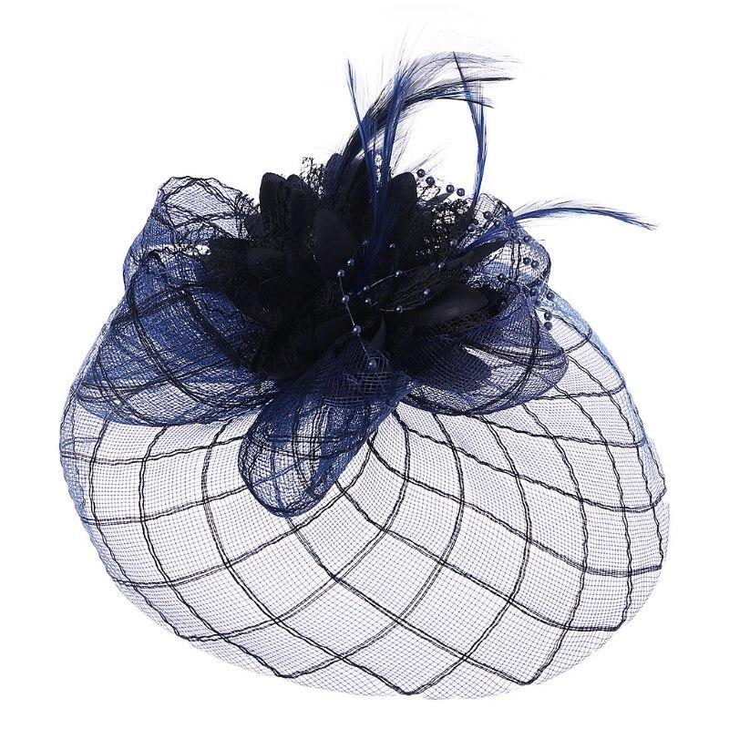 d0a0bdbbb978c Womens Barrette Fascinator Flower Pillbox Hat Beaded Feather Hair Clip  Wedding Headwear Gift Decoration W77