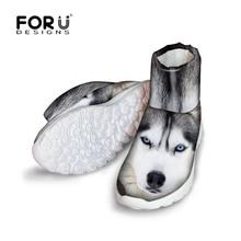 FORUDESIGNS 2016 Mode 3D Tiere Weißer Husky Gedruckt Frauen Winter Schnee Kurze Stiefel Dame Comfort Rutschfeste Rian Hohe Top Schuhe