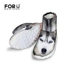 FORUDESIGNS 2016แฟชั่น3Dของสัตว์ฮัสกี้พิมพ์ผู้หญิงฤดูหนาวหิมะรองเท้าสั้นผู้หญิงC Omfortลื่นRianสูงด้านบนรองเท้า