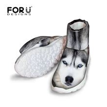 FORUDESIGNS Fashion 3D Animals White Dog Husky Printed Women Winter Snow Short Boots Lady Comfort Non-Slip Rain High Top Shoes