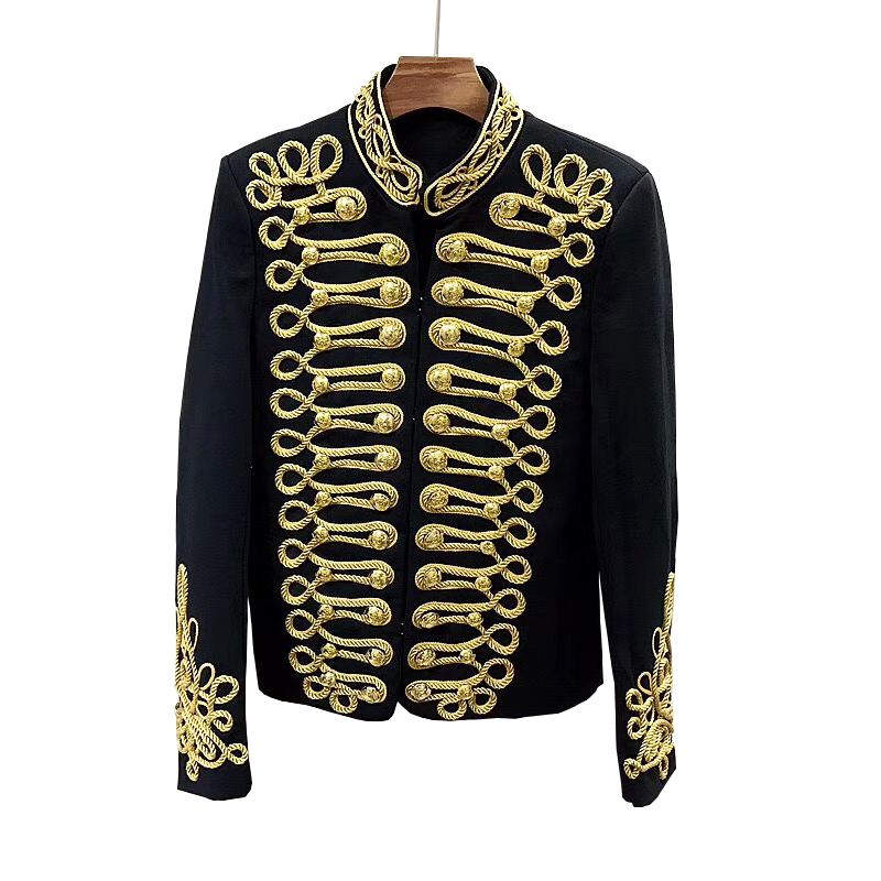 Luxury Brand Men Blazers Jacket Wedding Stand Collar Chinese Tunic Suit Wedding Royal Gown Gold Button Suits Male Party Groom