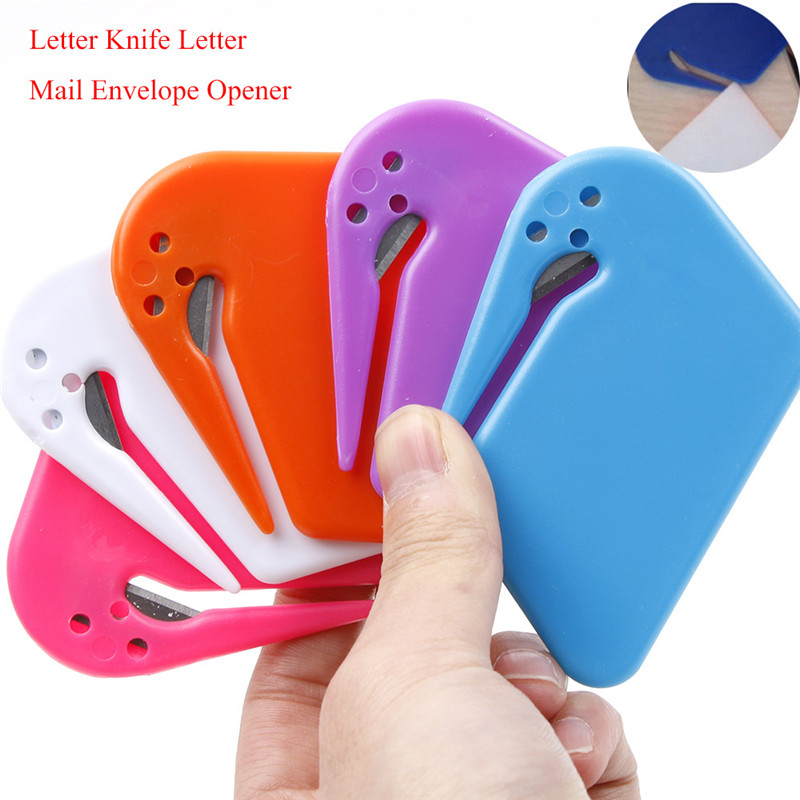 Plastic Mini Letter Knife Letter Mail Envelope Opener Safety Paper Guarded Cutter Blade Office Equipment Cutting Supplies