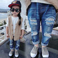 Dressnomore New 2017 Summer Kids Jeans Pants Mid Elastic Waist Ripped Jeans Girl Denim Pant Children Clothing Size 24M-6T