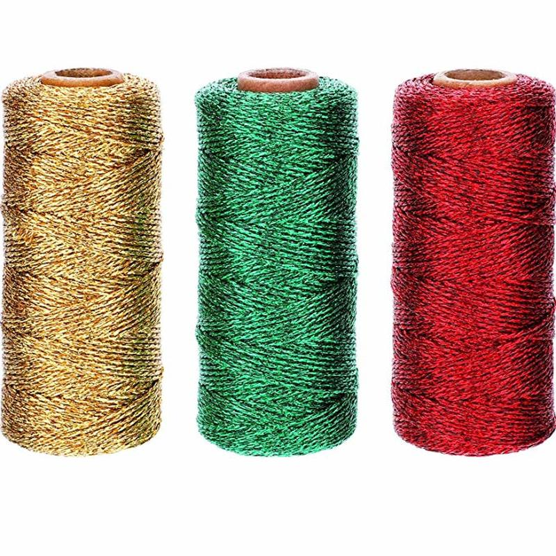 20pcs Bakers Twine Metallic Gold Shimmer 110yard spool Party Decorating Favors Gift Wrapping Foil Silver Twine