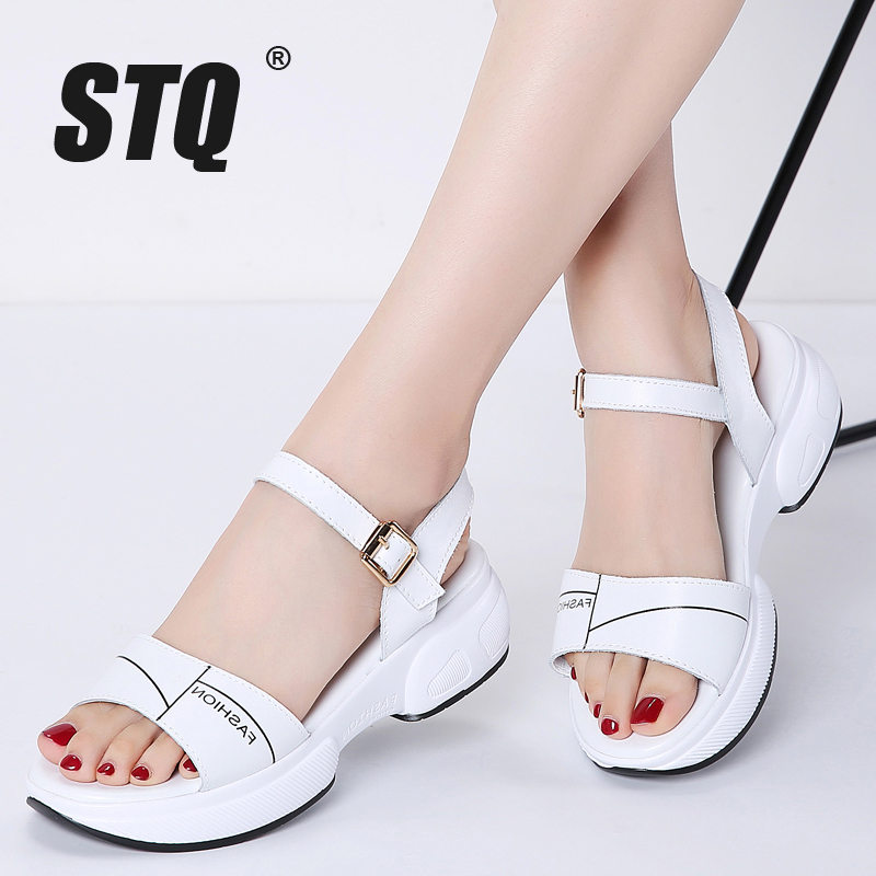 STQ Platform Sandals Women Wedge Black Flat Ladies Flip-Flops Beach 1057