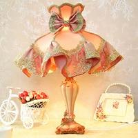 Розовый Цвет ребенок Спальня розовый Спальня Таблица Лампы для мотоциклов принцессы для девочки на свадьбу комнаты сад кружева ночники нас