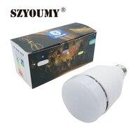 SZYOUMY светодиодный свет RGB Smart Беспроводной Bluetooth 4,0 аудио колонки лампы затемнения E27 музыка лампы Цвет изменение Wi-Fi приложение Управление