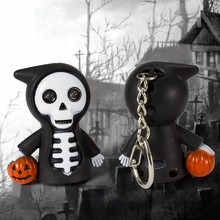 Halloween death LED sound luminous keychain cartoon creative flashlight gift pendant accessories factory selling