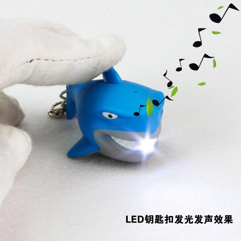 New design blue shark font b LED b font luminous key chain sea world exquisite pendant