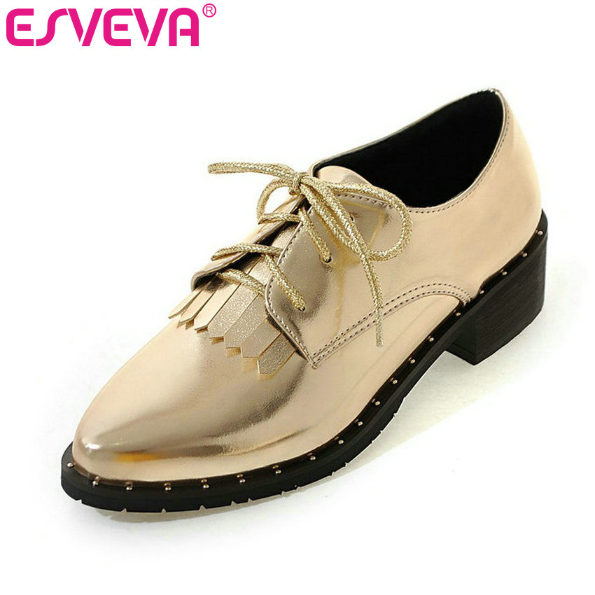 все цены на  ESVEVA 2017 Spring Autumn Shoes British Style Lace Up Pointed Toe Women Pumps Square Med Heel Casual Women Shoes Big Size 34-43  в интернете