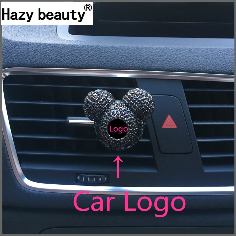 Hazy beauty car Automobile air conditioner outlet perfume holder Vehicle logo with diamond decoration A variety Car styling