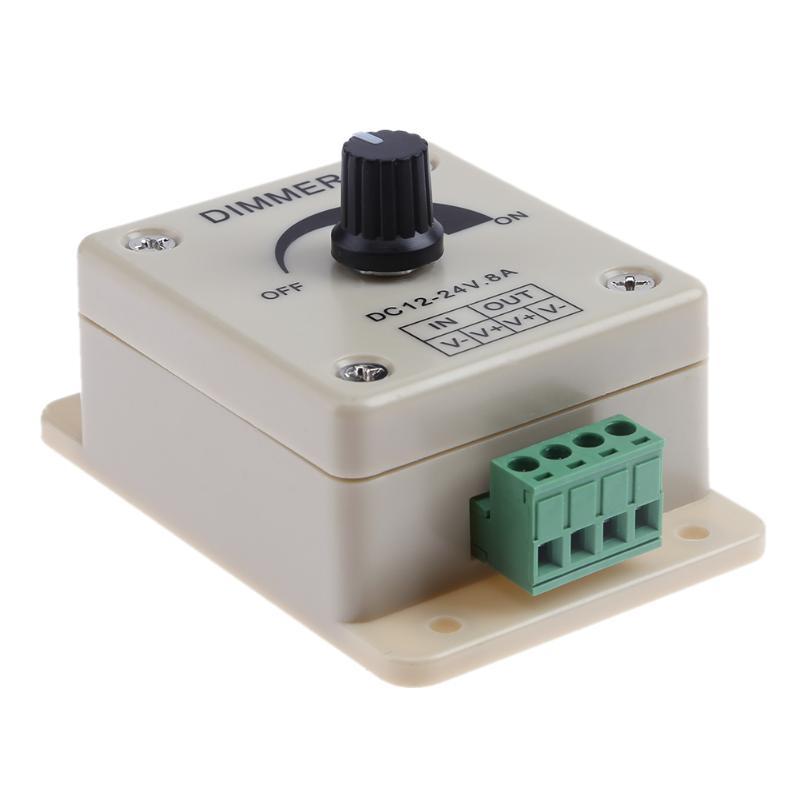 12V 24V LED Dimmer Switch 8A Voltage Regulator Adjustable Controller For LED Strip Light Lamp