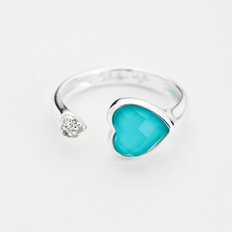beautiful rhodium stones turquoise zirconia cubic with plated rings ring stone