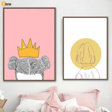 Abstract Girl Yellow Crown Woman Wall Art Canvas Painting Nordic Posters And Prints Wall Pictures For Living Room Bedroom Decor(China)