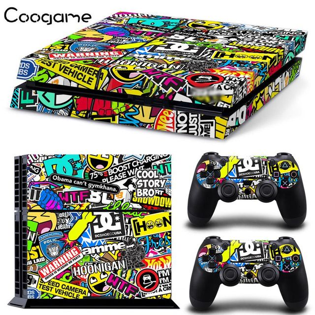 New custom stickerbomb skin sticker for sony ps4 console 2 controller skins for playstation 4