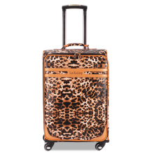 Genuine leather(Split Leather) trolley luggage universal wheels 16 leopard print 24 luggage travel bag luggage 20 password box