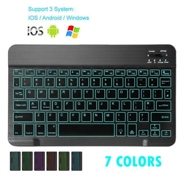 Mini Bluetooth Klavye MT07 Ince Taşınabilir Mini Kablosuz Klavye IOS Android Windows PC Bluetooth Klavye Arkadan Aydınlatmalı