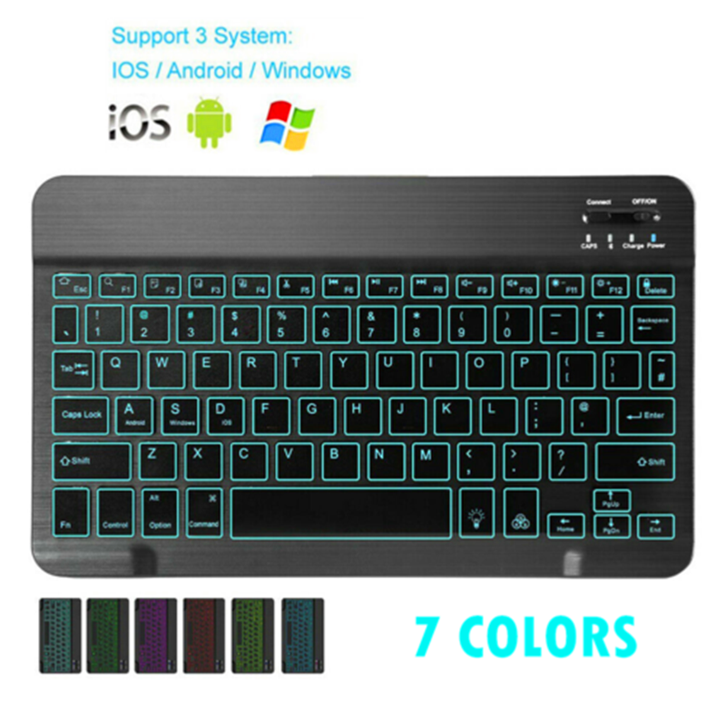 Mini Bluetooth Keyboard MT07 Slim Portable Mini Wireless Keyboard For IOS Android Windows PC Bluetooth Keyboard with Backlight image