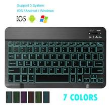 Mini teclado bluetooth mt07 magro portátil mini teclado sem fio para ios android windows pc bluetooth teclado com luz de fundo