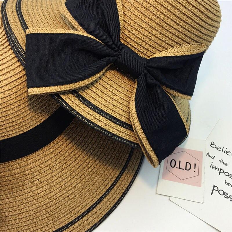 New Women Summer Parent-child Women Casual Daily Baby Kids Girl Beach Bow Straw Flat Brim Sun Hat Cap #4F09 (23)
