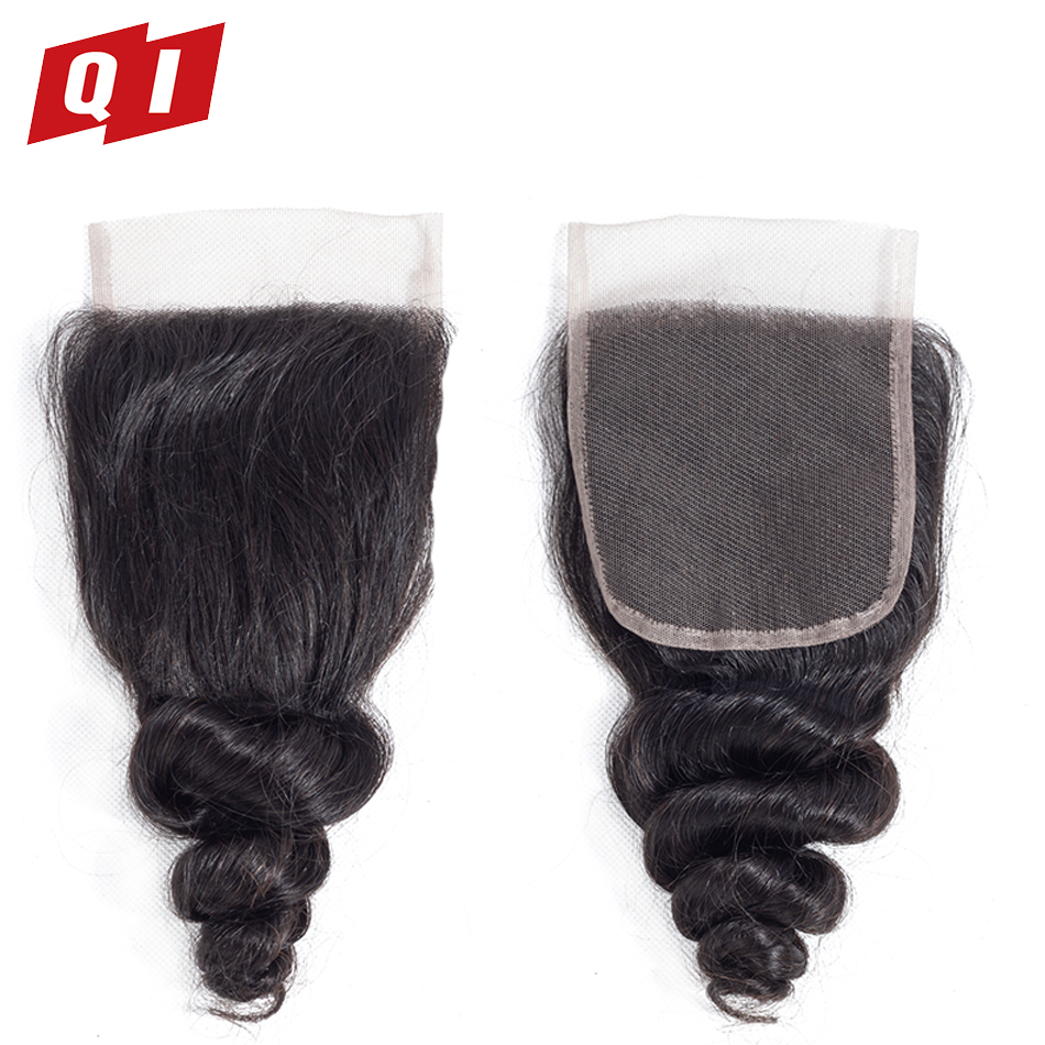 QI Hair Closure Loose Wave 4x4 Size Non Remy Hair Pre Plucked Malaysia Hair Natural Color Hairline With Baby Hair