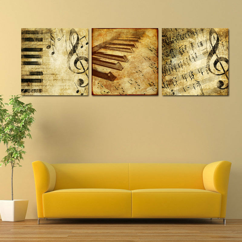 New Arrival Modern 3 Panel Classical Piano Music Notes Paintings ...