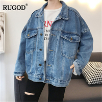 RUGOD Vintage Fashion Women Jacket Coat Women Solid Casual Loose Jacket Single Breasted Plus Size Jacket For Female jeans jacket