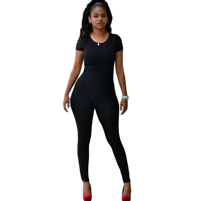 6b66c201958b Black Backless Sexy Skinny Jumpsuits And Rompers Womens Sexy Club Bodycon  Short Sleeve Long Playsuits One Piece Bodysuits