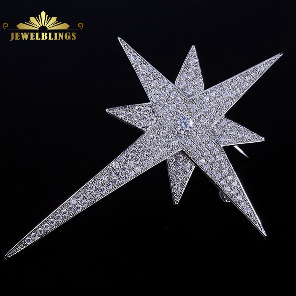 купить Glamorous Bling Sliver Tone Micro Pave CZ Spiky Star Brooches Prong Set Round Cut Stone Statement Two Layer Four Point Star Pins по цене 831.61 рублей
