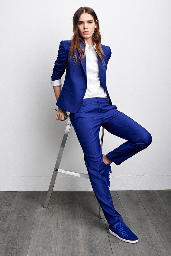 자켓 + 바지 여성 비즈니스 정장 로얄 블루 여성 사무실 유니폼 디자인 저녁 공식적인 숙녀 바지 정장 2 조각 w149-에서바지 슈트부터 여성 의류 의  그룹 1