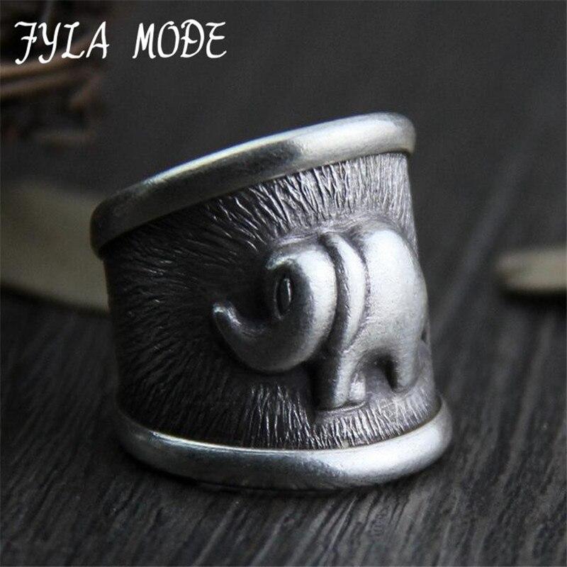 Fyla Mode Cool Vintage Rings For font b Men b font 999 Thai Silver Elephant Ring