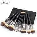 Matto Makeup Brushes Facial Cosmetics 10pcs Makeup Brush Set Foundation Powder Blush Contour Make Up Tools Kit Black