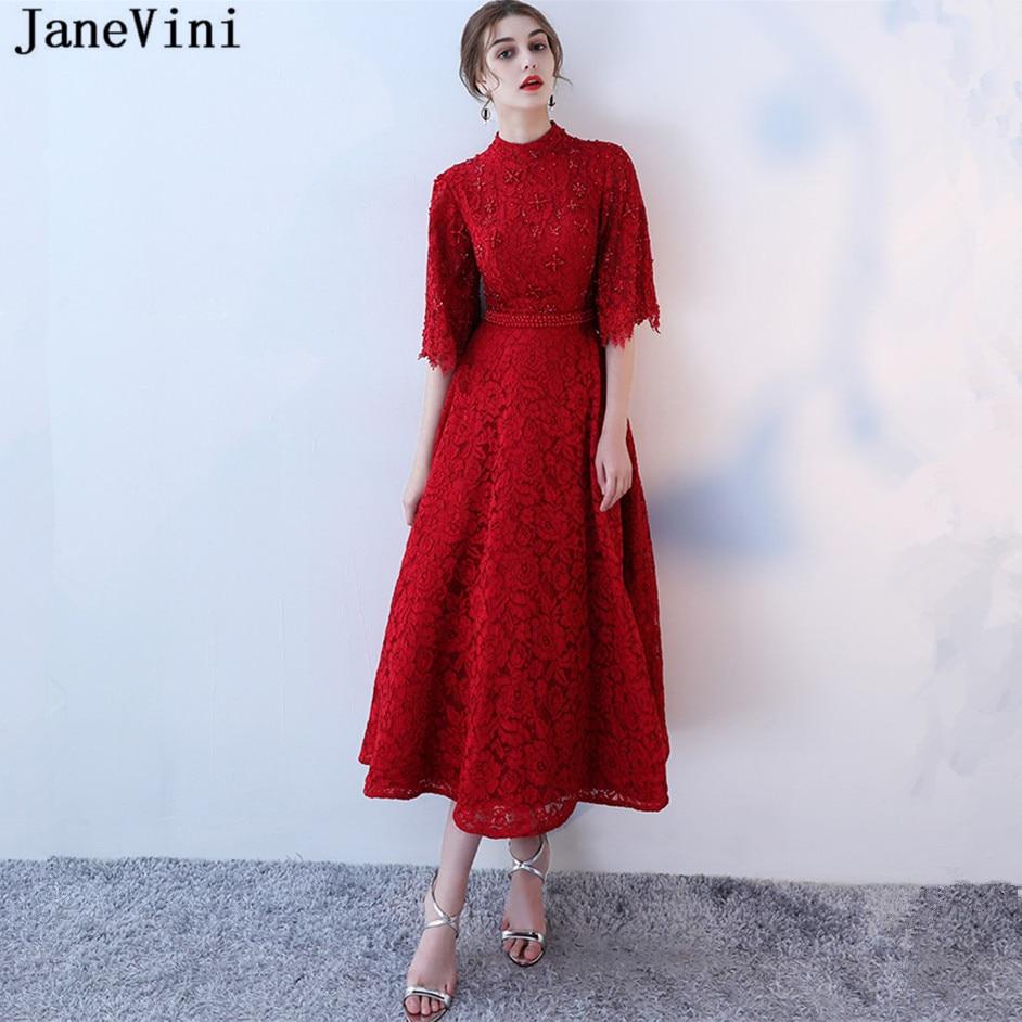 JaneVini Vintage Lace Long Burgundy   Prom     Dress   High Neck Half Sleeve Pearls A Line Ankle Length Formal   Prom     Dresses   Robe De Gala