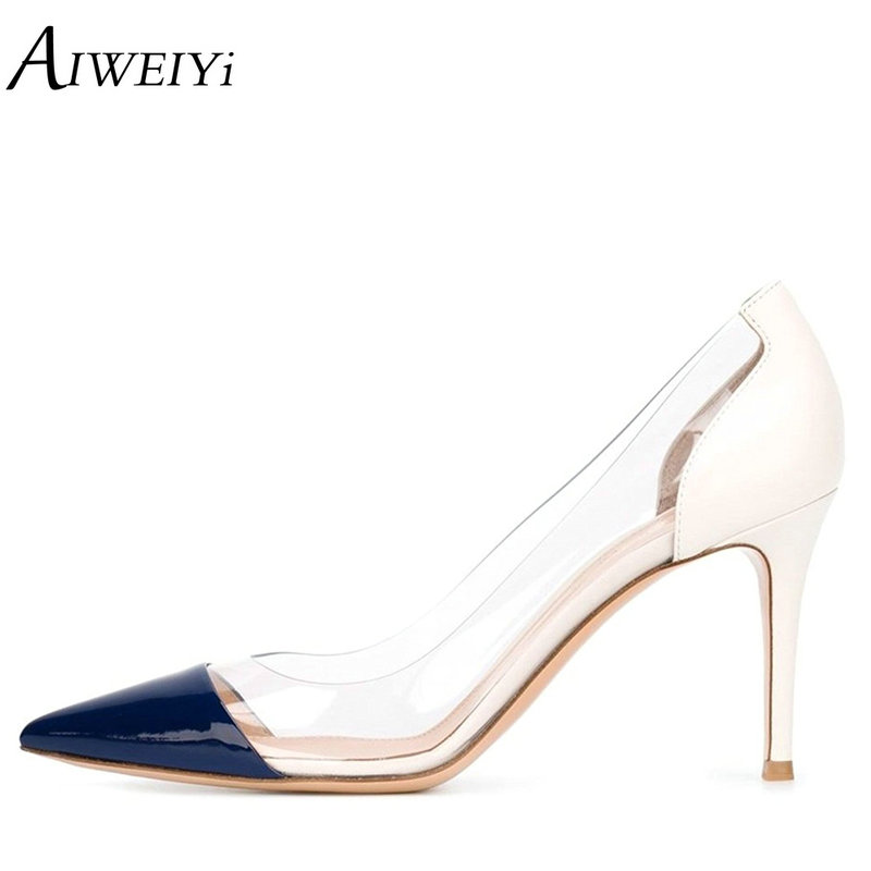 AIWEIYi 2018 Fashion PVC Women Platform High Heels 8CM Pointed Toe Stiletto High Heels Ladies Heeled Pumps Sapato Feminino Shoes platform high heeled stiletto pumps