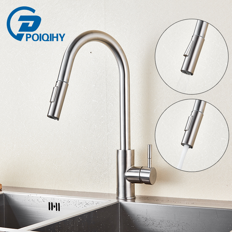 POIQIHY Pull Out Sense Kitchen Faucet Touch Sensor Kitchen Mixer Tap  Stainless Steel Sensitive Touch Control ...