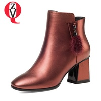ZVQ newest square toe high square heel genuine leather winter warm fur decoration women booties outside fashion sexy work boots