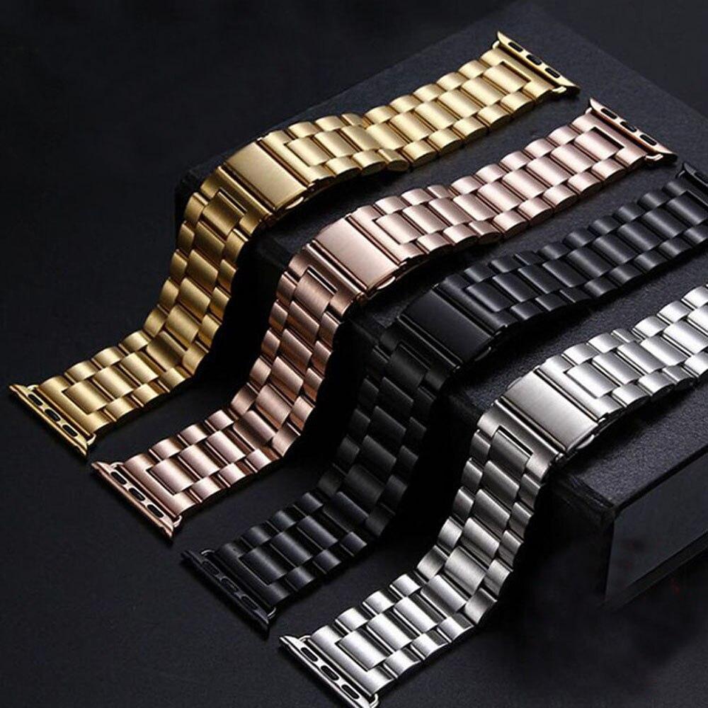 Prix pour Inoxydable montre en acier de courroie de bande pour apple watch iwatch 38/42mm bracelet bracelet noir argent or rose avec connecteur i117.