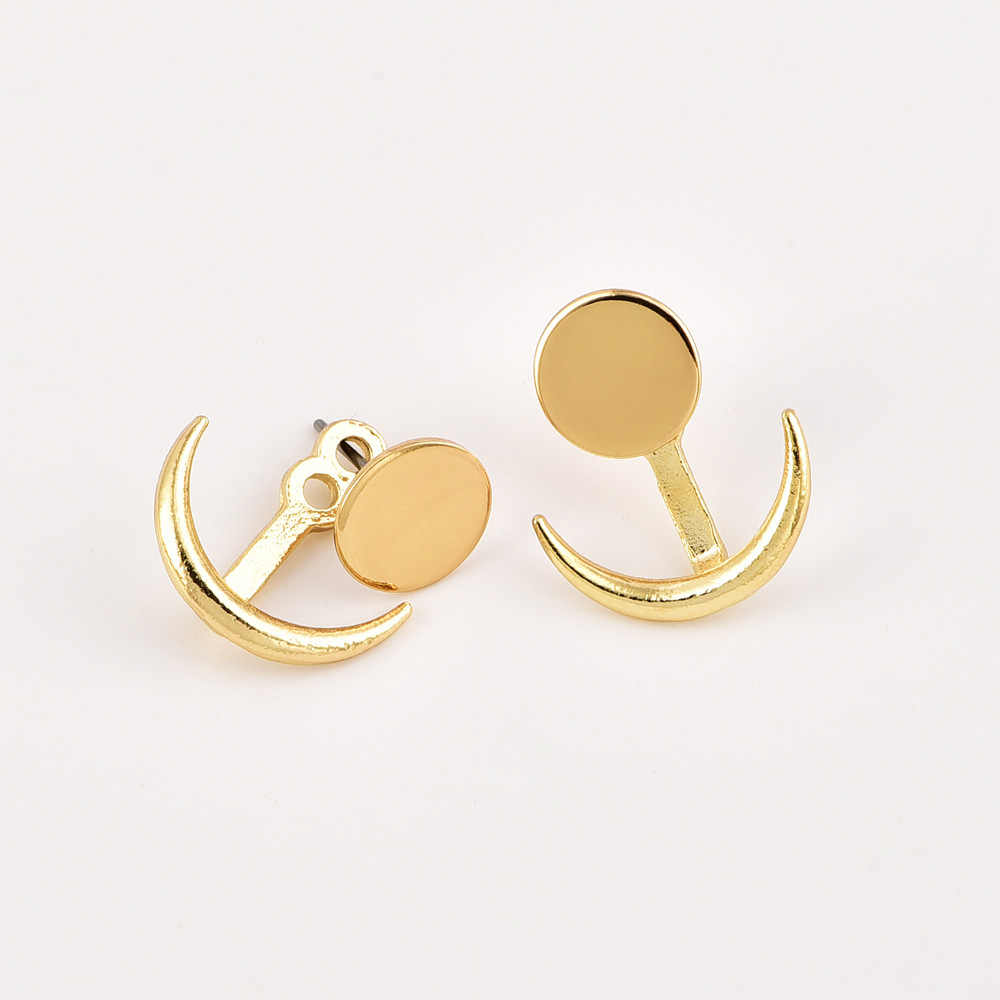 ... Simple Style Gold Color Crescent Moon Stud Earrings Female 2018 Fashion  Jewelry Metal Geometric Earring Girls ...