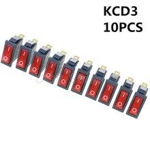 โปรโมชั่น! 10 ชิ้น 3 ขา SPST Neon Light On/Off สวิตช์ Rocker AC 250 โวลต์/10A 125 โวลต์/ 15A KCD3 สีแดง