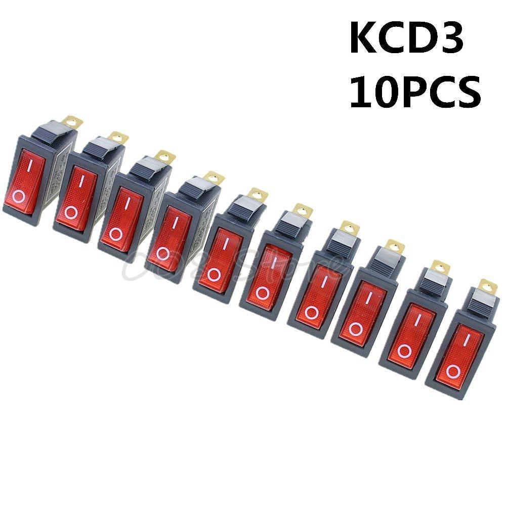 Promotion! 10Pcs 3 Pin SPST Neon Light On/Off Rocker Switch AC 250V/10A 125V/15A KCD3 Red
