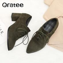 وأشار اصبع القدم الدانتيل يصل النساء عالية الكعب أكسفورد أحذية حجم كبير 31 43 أحذية امرأة أحذية Vintage للسيدات الربيع الخريف حذاء كاجوال