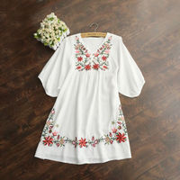 Hot Sale Vintage 70s Women Mexican Ethnic Embroidered Pessant Hippie Blouse Gypsy Boho Mini Dress Free