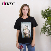 LIENZY Summer Fashion Women Basic T Shirt Kylie Jenner Graphic Short Sleeve Black BF Women T