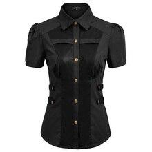 Women Shirt Vintage Retro Office Lady Blouse Renaissance Steampunk Buttons Short Sleeve Summer Tops Slim